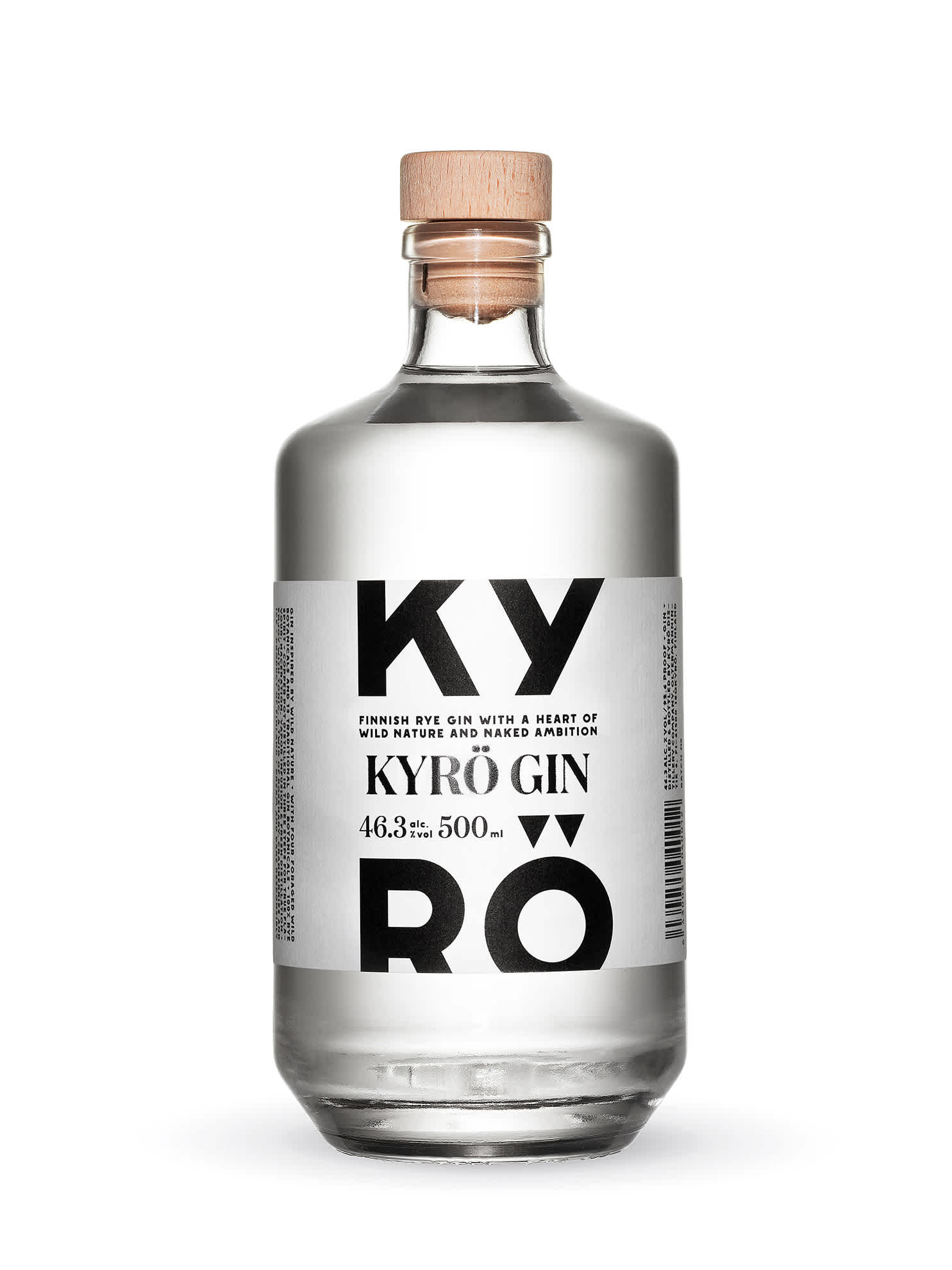 Product photo: 0,5l bottle of award-winning Kyrö Gin made with Finnish rye from the Kyrö Distillery Company.