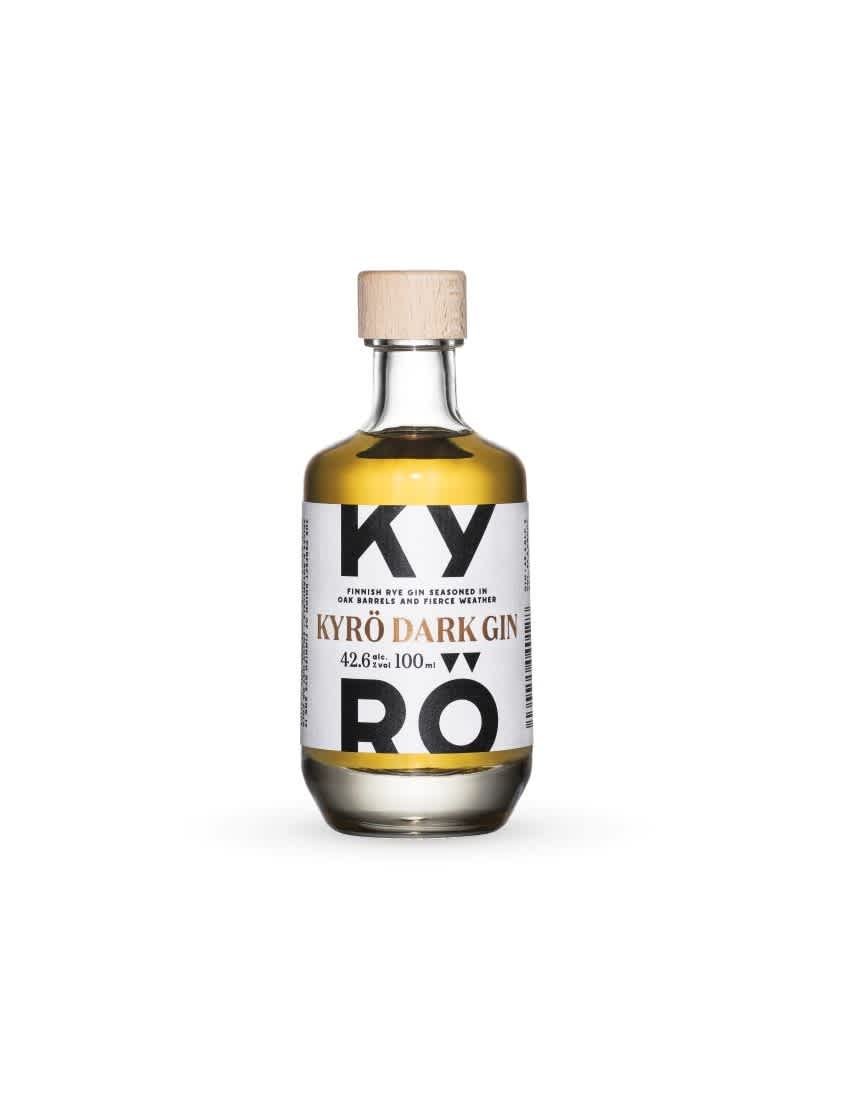 Product photo: a 100ml clear bottle of Kyrö Gin, which is a dark, nutty brown, made by the Kyrö Distillery Company in Isokyrö, Finland.