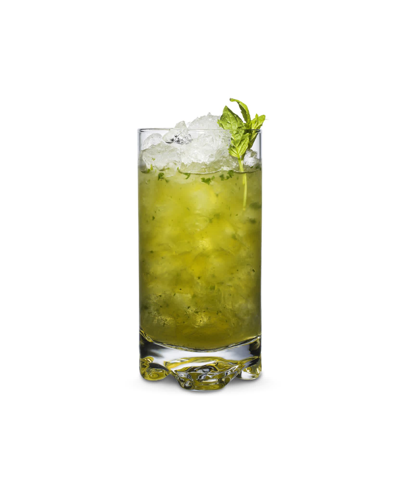 Mint Julep is a whisky cocktail made with fresh mint. Glass is filled with crushed ice.