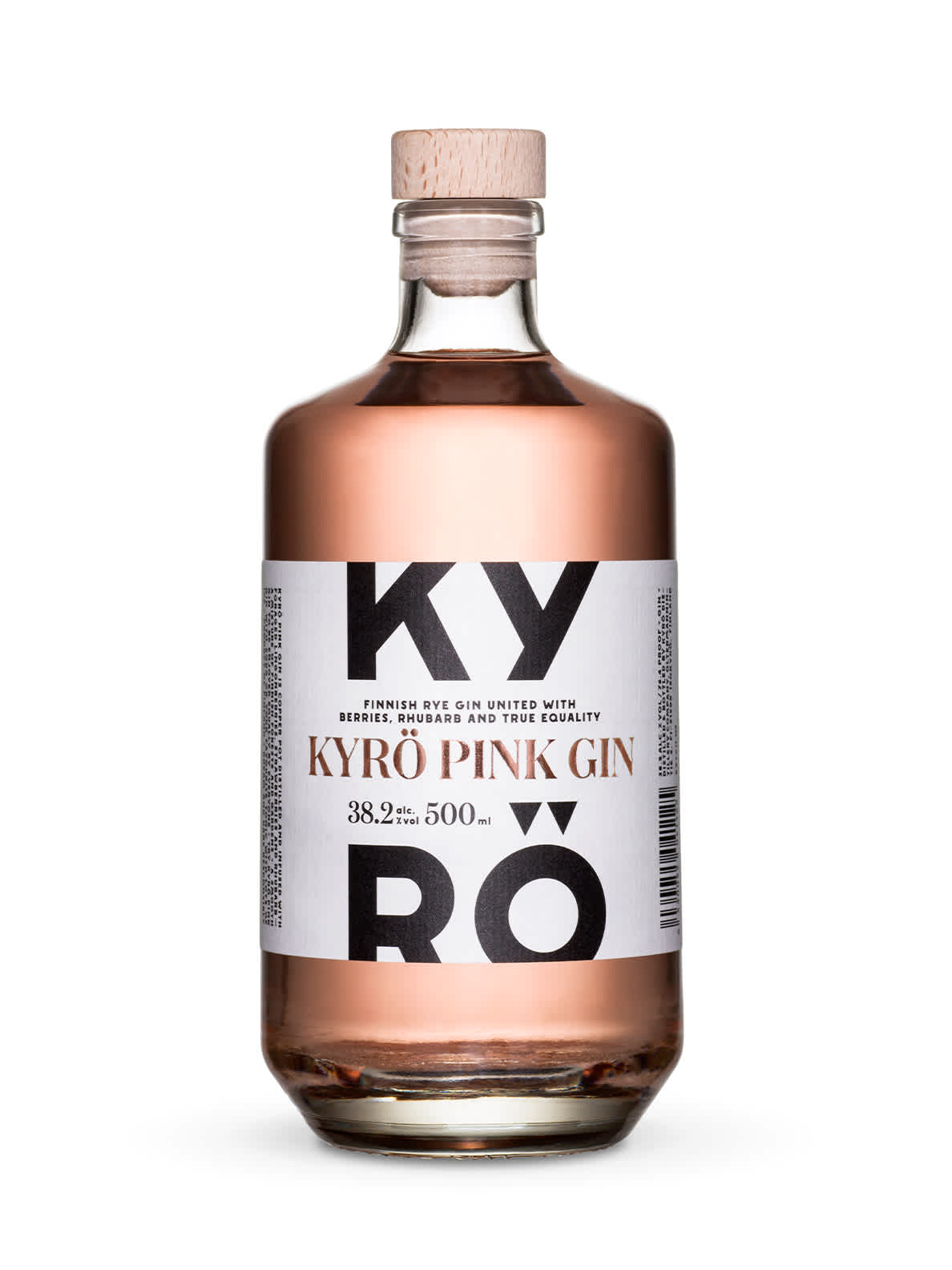 Product photo: a 500ml clear bottle of Kyrö Pink Gin, which is light pink in color, made by the Kyrö Distiller Company in Isokyrö, Finland.