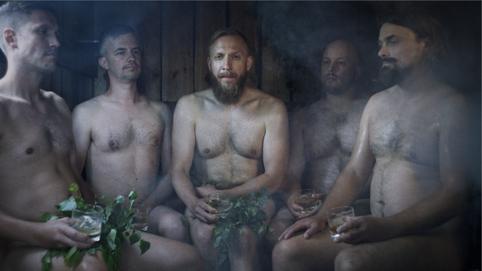Five men sit in a finnish sauna naked.