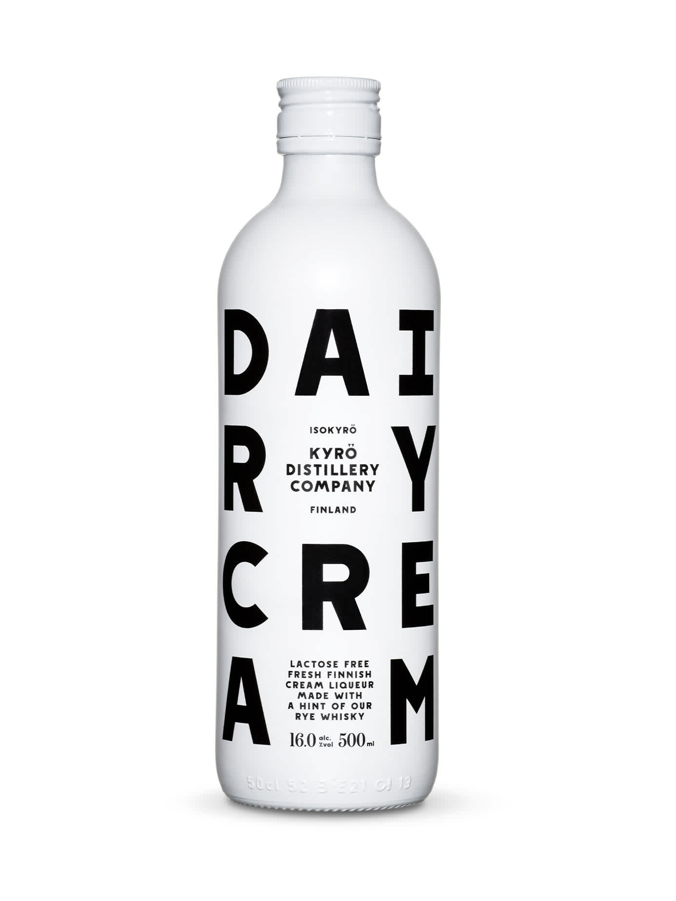 Product photo: 0,5 l bottle of Dairy Cream liquor made with award-winning Finnish rye whisky from Kyrö Distillery Company.