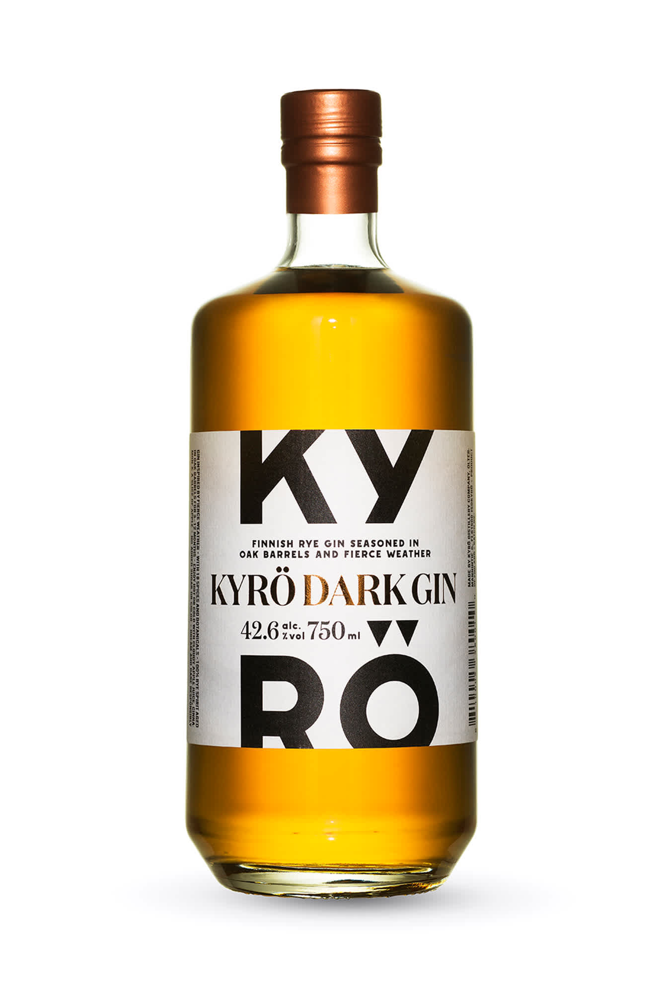 Product photo: 750 ml bottle of award-winning Kyrö Dark Gin. This barrel-aged gin was first called Koskue Gin.