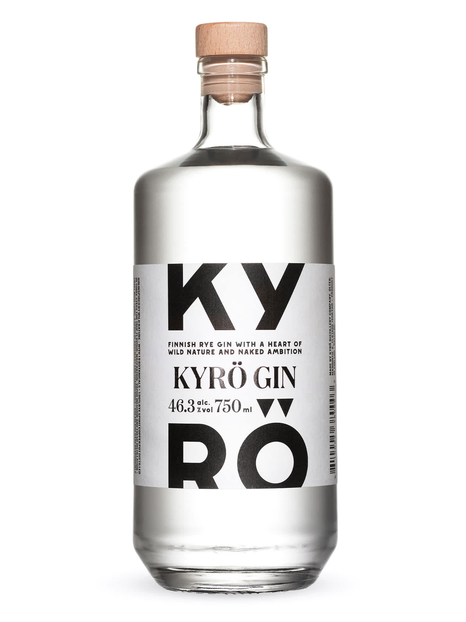 Product phoot: 750 ml bottle of award-winning Kyrö Gin (formerly known as Napue).