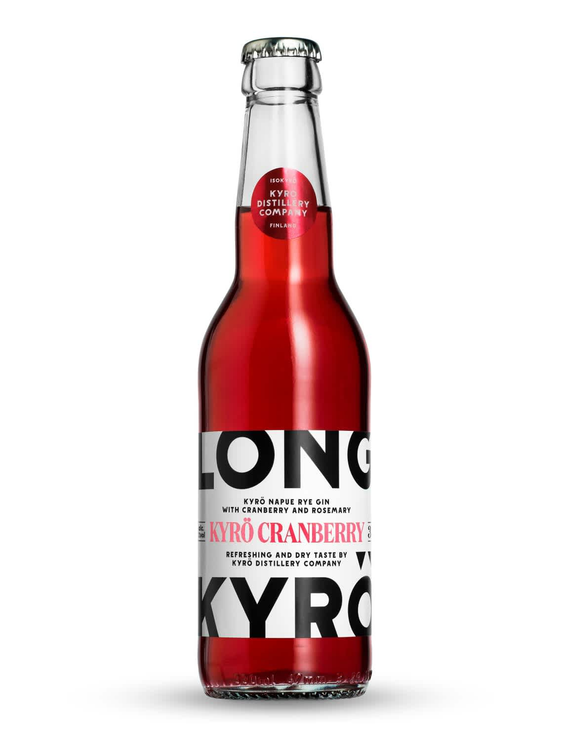 Product photo: 350ml bottle filled with bright red Kyrö Cranberry long drink.