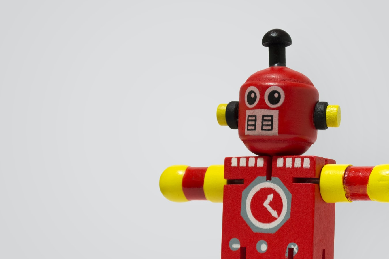 A Robot in Red and Yellow