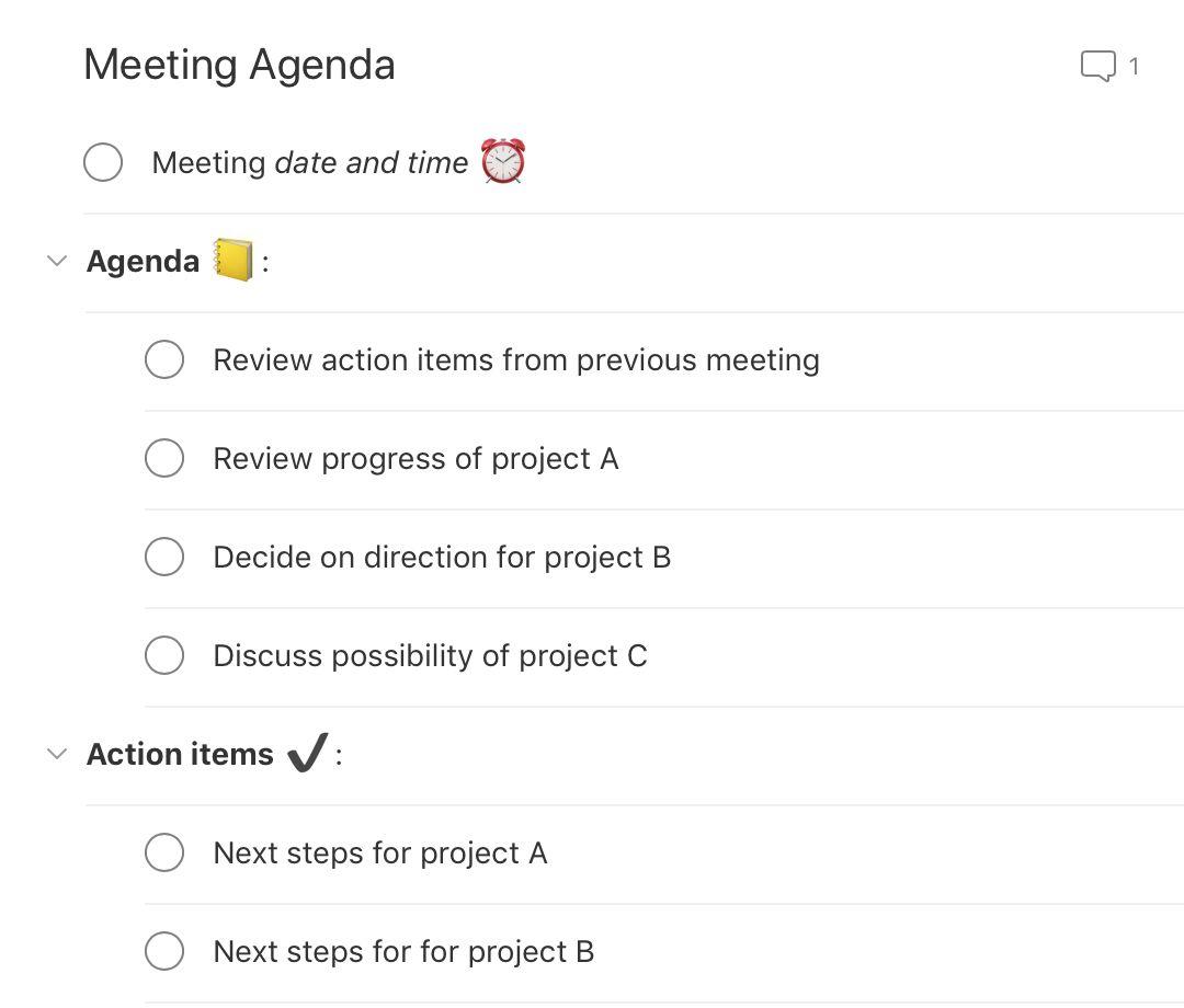 Meeting Agenda Template Todoist