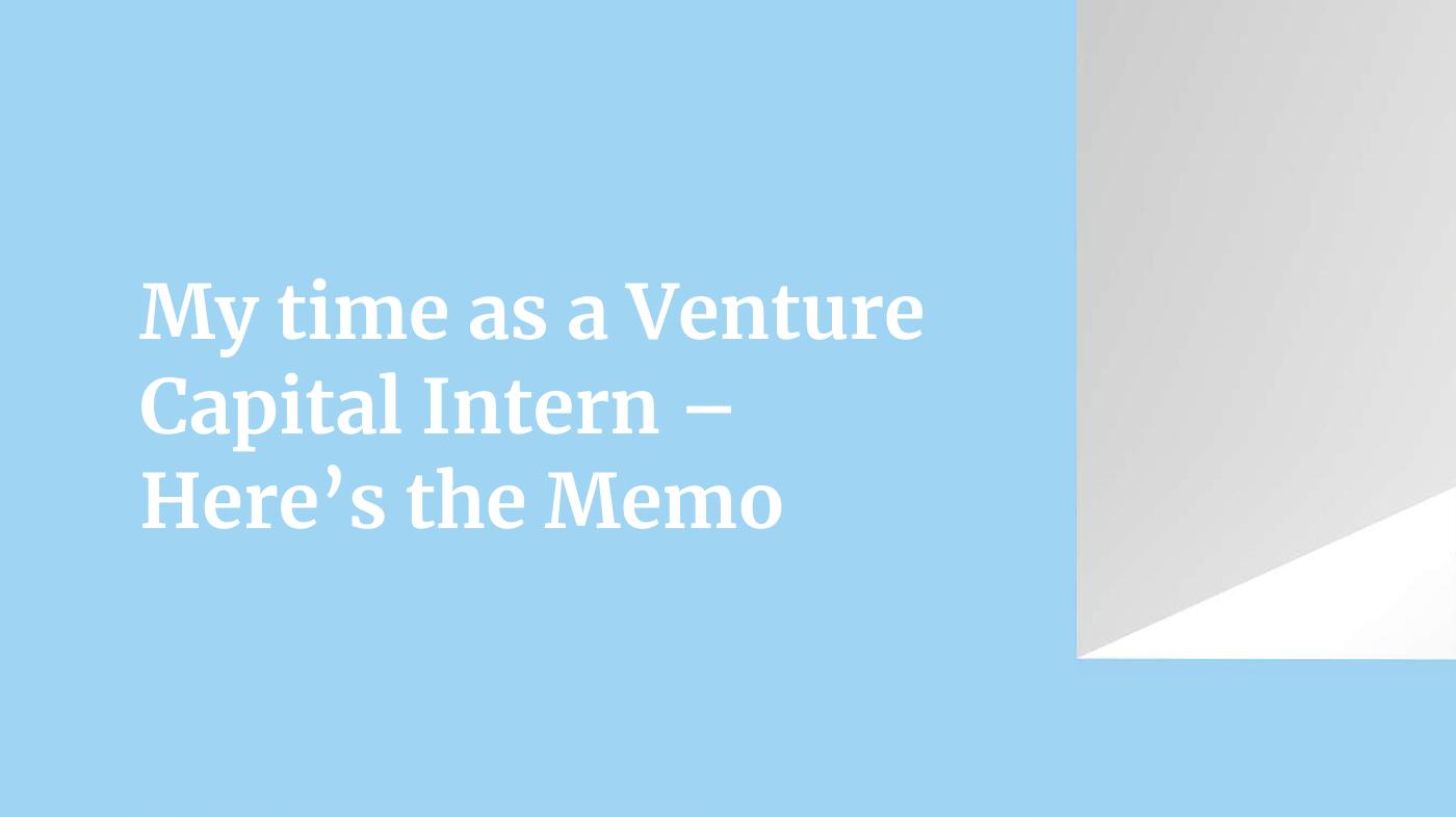 VC internship blog cover