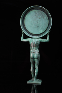 Atlas God Sculpture for Tiffany&Co. in patina bronze.