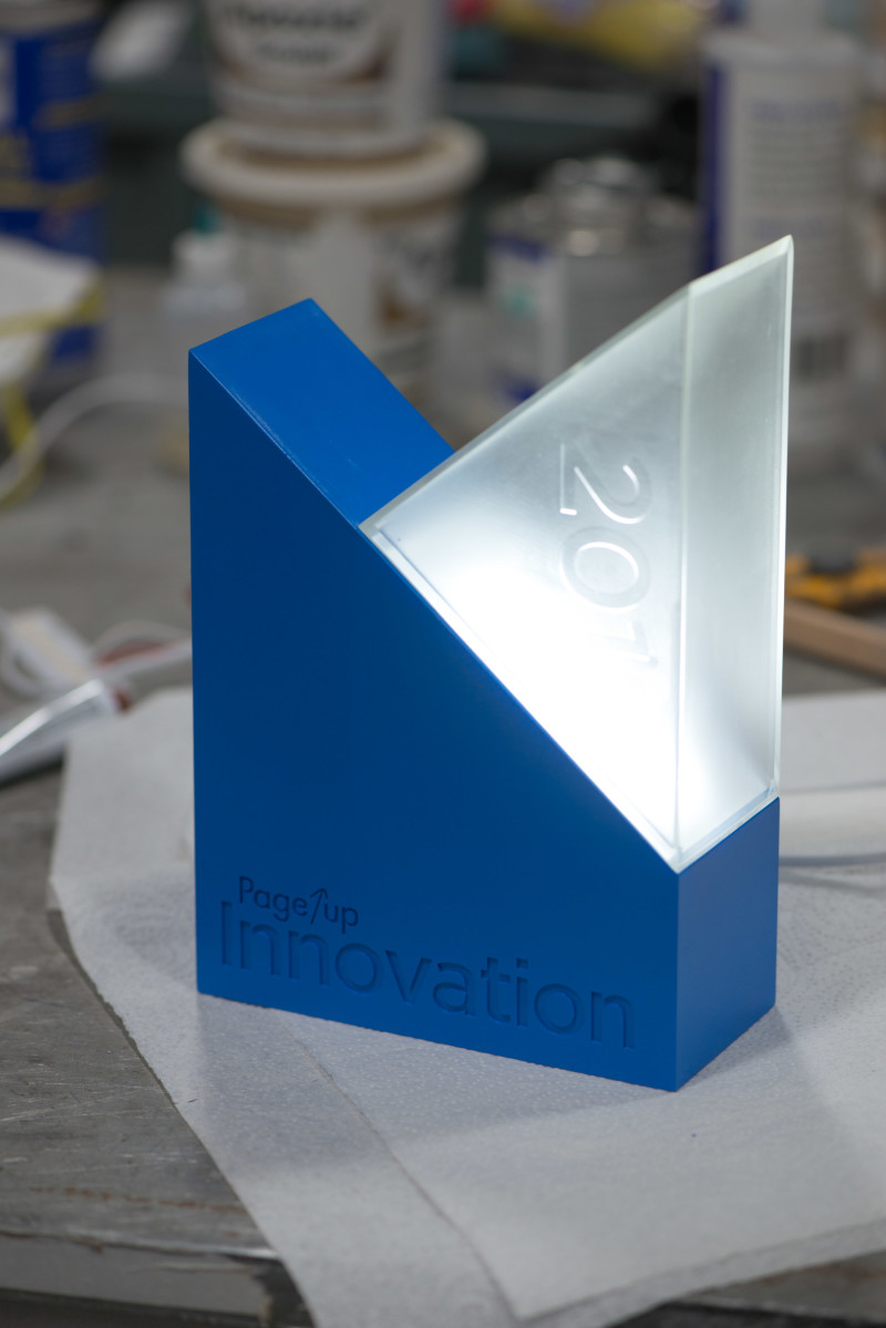 A custom award made with electronics