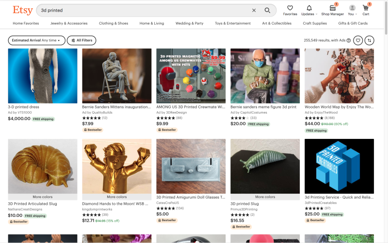 Screenshot of an etsy listing