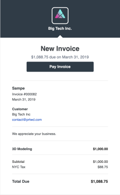 3d modeling invoice