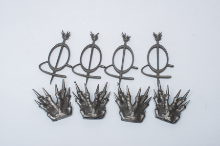 A group of metal plated accessories