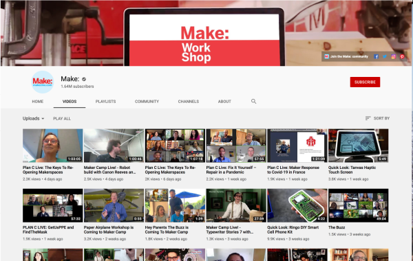 Screen shot of Make's Youtube Channel