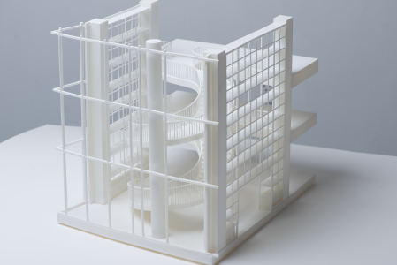 3D printed architectural model midshot corner view