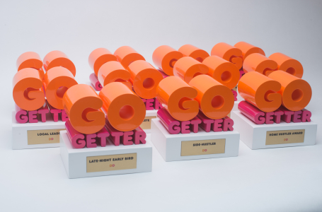 Trophies for Dunkin Donuts.