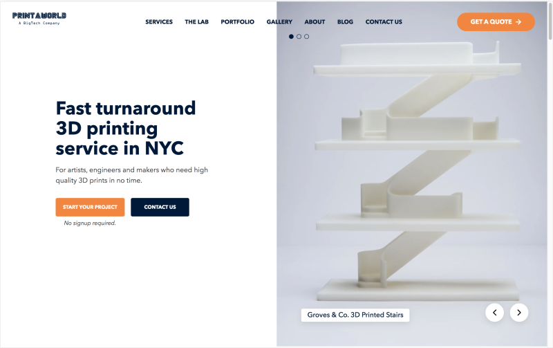 screenshot of a company offering 3D printing in nyc
