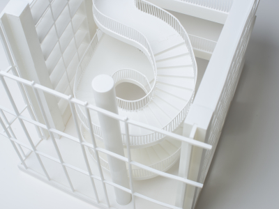 3D printed architectural model top view of stairs