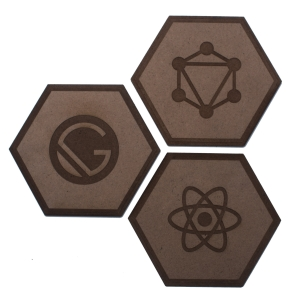laser cut programming coasters hexagon