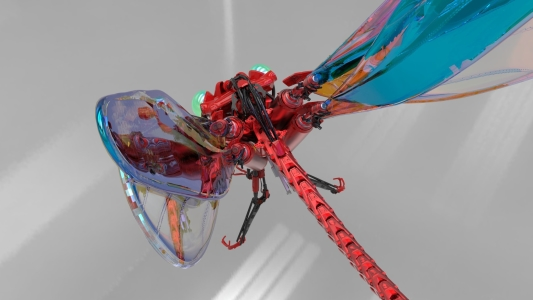 3D model and rendering of a dragonfly