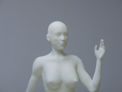 3D Modeled sketch of a naked woman half body