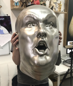 Stainless steel Trump head sculpture
