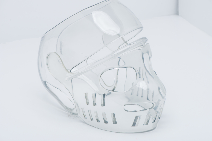 3d printed baseball mask protector on water clear resin