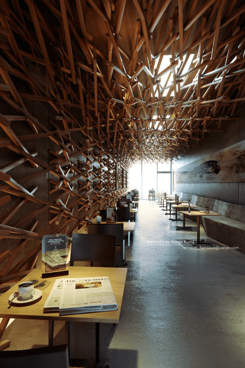 Reinterpretation render of Starbucks by Kengo Kuma © Reinaldo Handaya