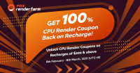 Get 100% CPU Render Coupon Back on Recharge!