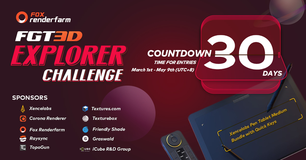 Call For Submissions: FGT3D Explorer Challenge; Win Pen Tablet Bundle and More Prizes!