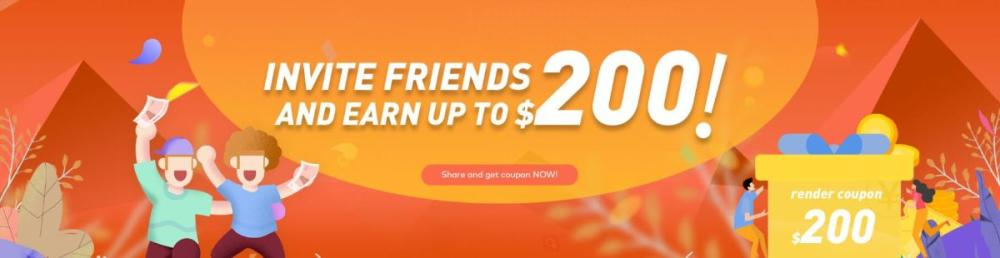 Invite your friends and earn up to 200 in Fox Renderfarm