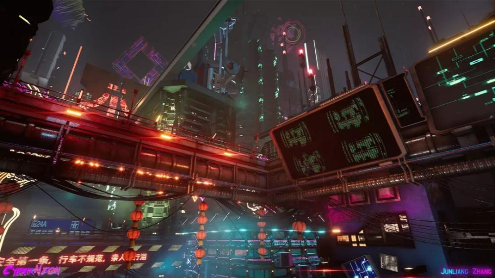 CyberNeon, a Cyberpunk Chinese City Created in Unreal Engine 4