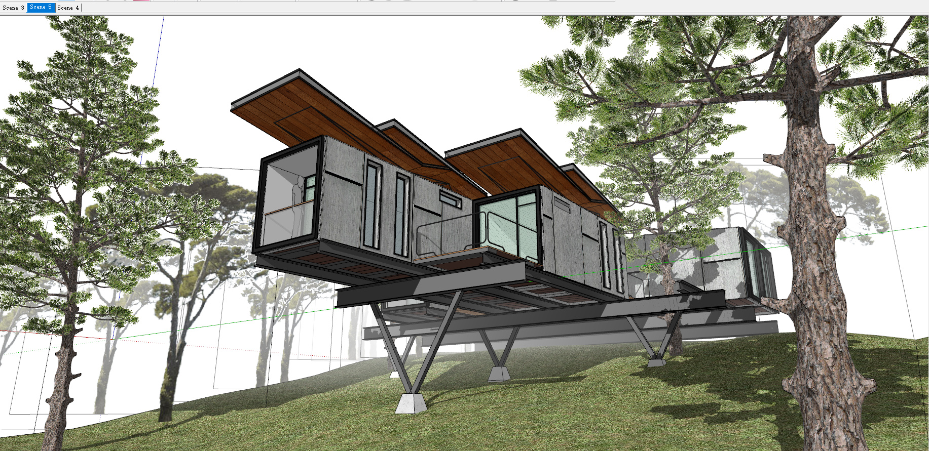 V-Ray For Sketchup To Make A Work Container Cabin 1