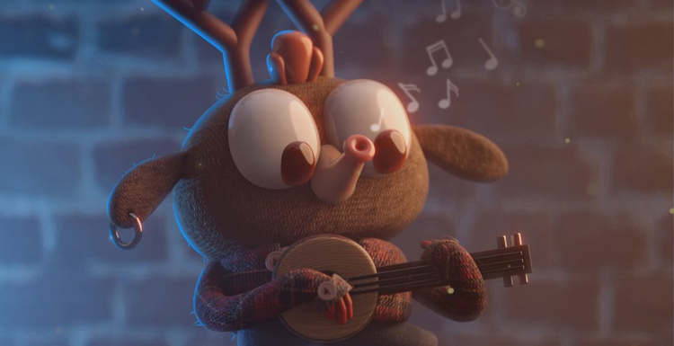 Street Musician Reindeer Made in Blender: Sprinkle Some Fun in Character