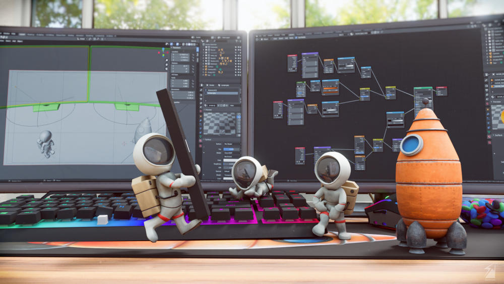 3D Astronauts' Escape Story Made in Blender -1