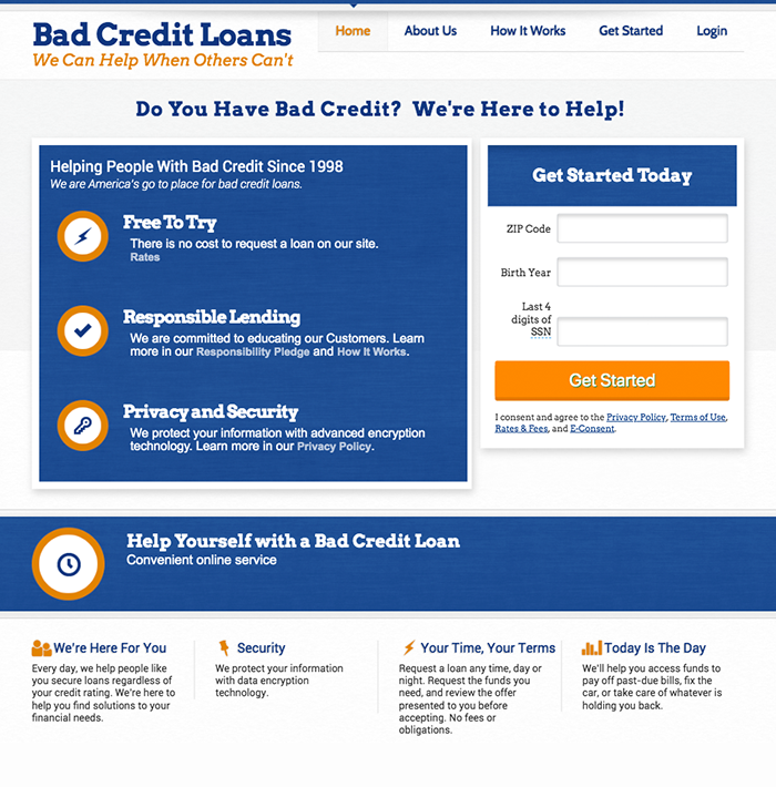 BadCreditLoans.com screenshot
