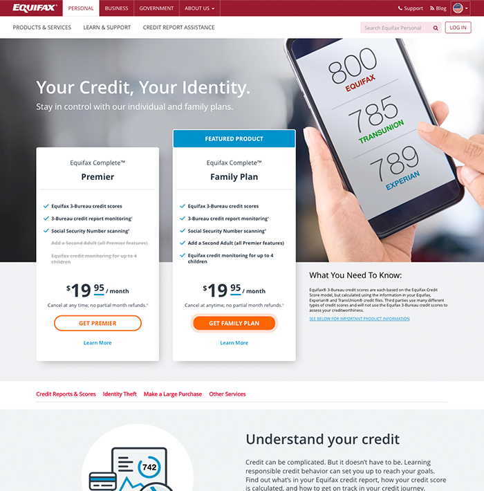 Equifax screenshot