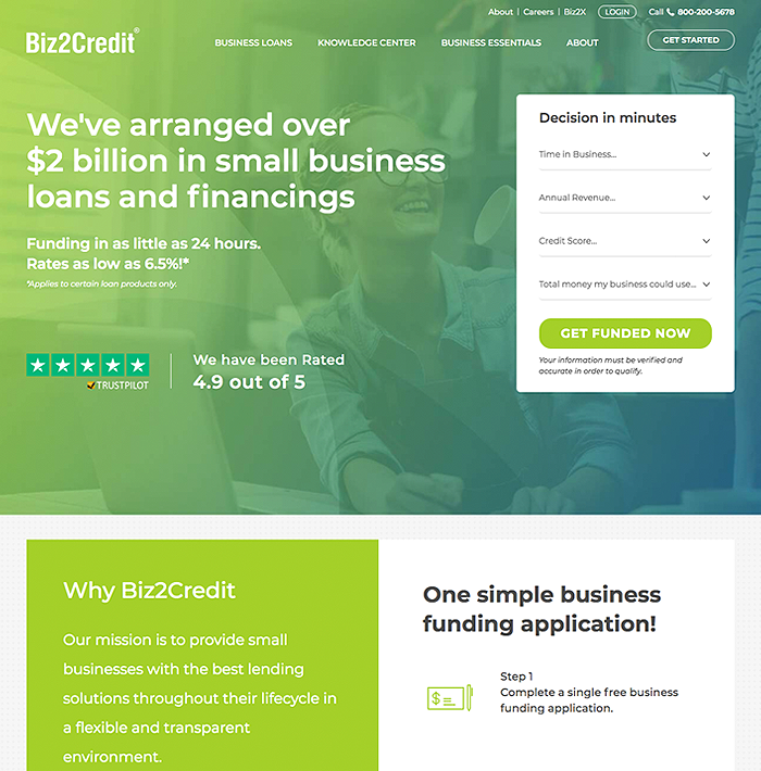 Biz2Credit screenshot