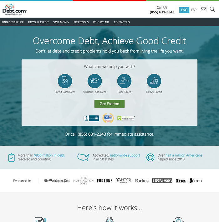 Debt.com screenshot