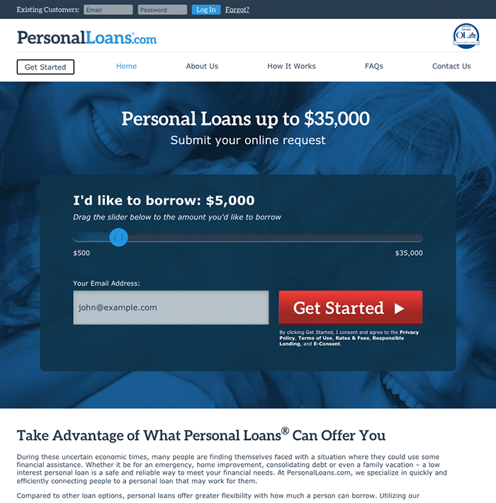 PersonalLoans.com screenshot