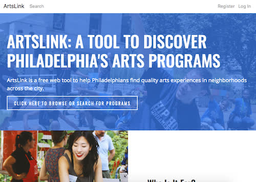 Homepage of arts link art discovery site