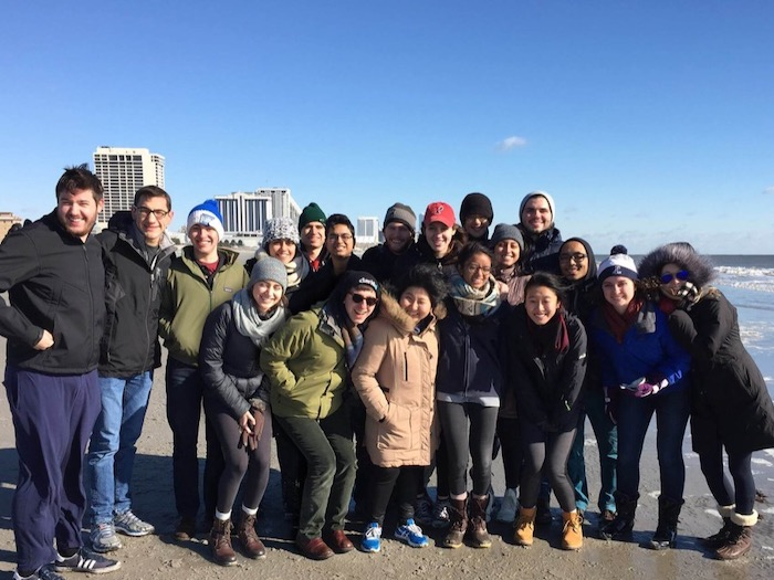 UPenn chapter on their retreat, chilling at the beach