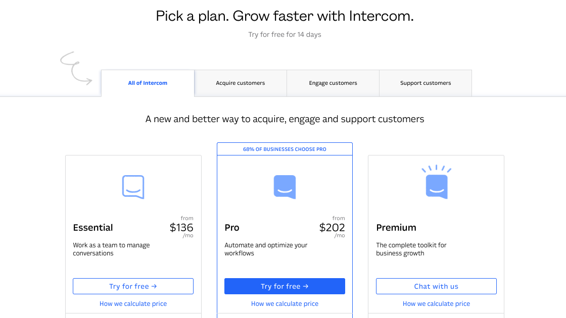 Image of Intercom's pricing tiers