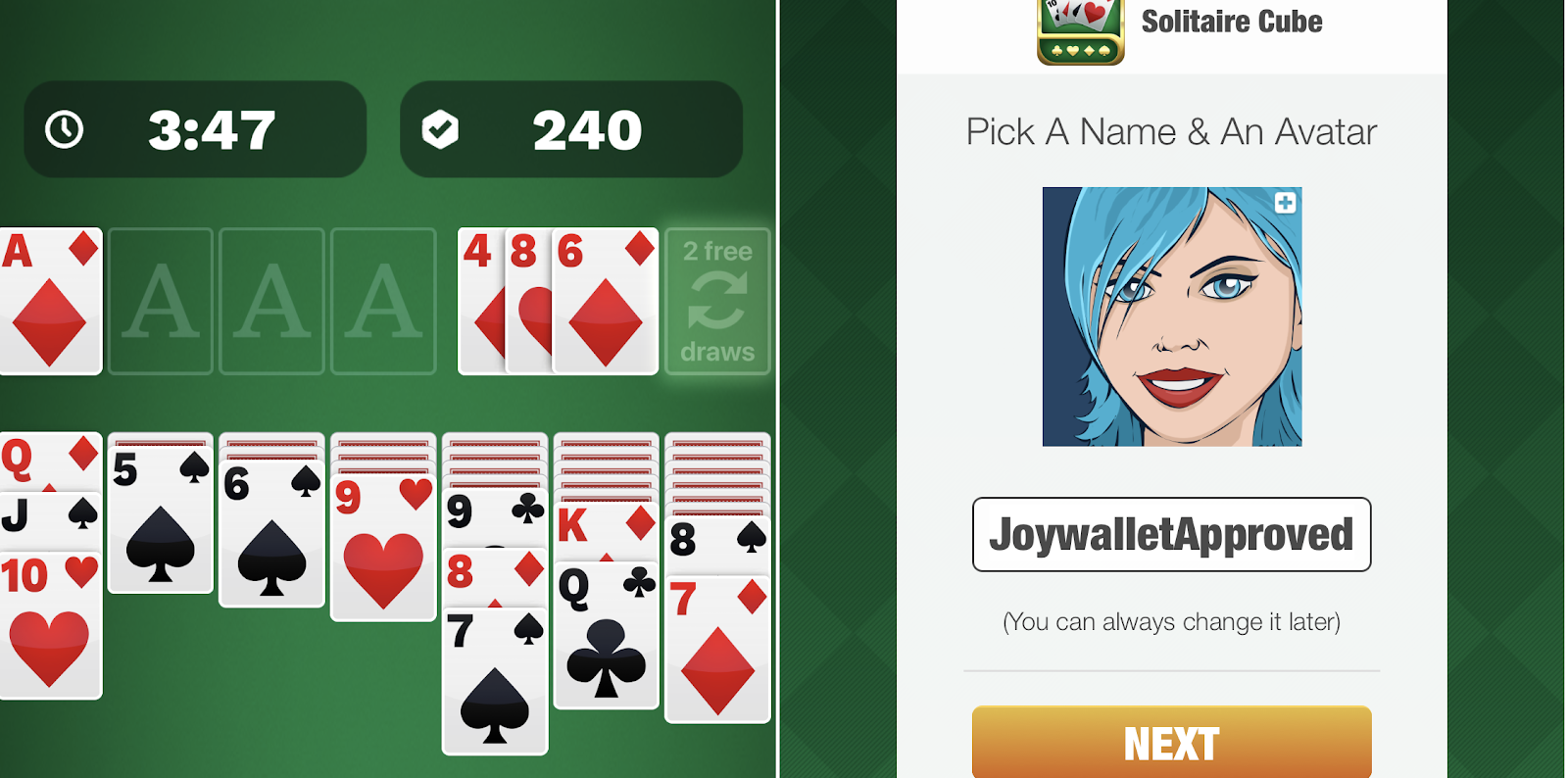 Solitaire Cube App Screen
