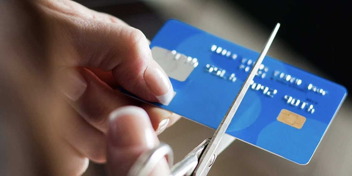 Cutting credit card with