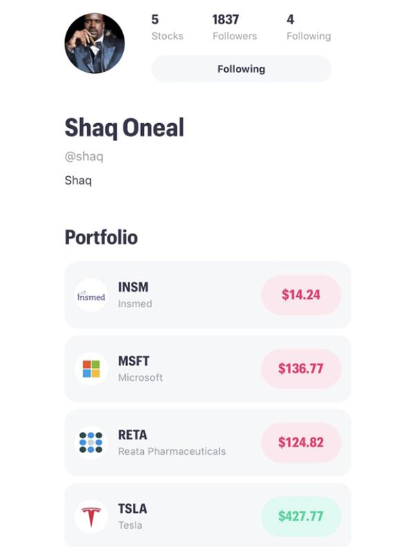 shaq trading on public app