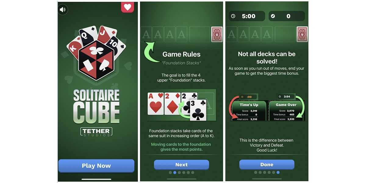 Solitaire Cube Screen