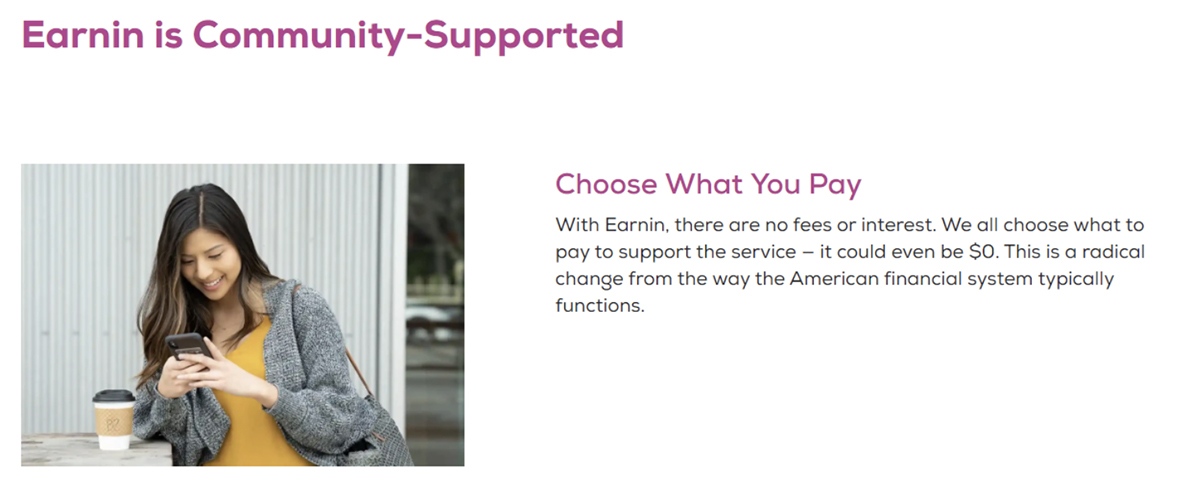 Earnin is community supported choose what you pay