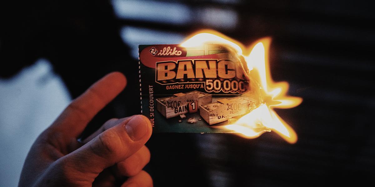 Burning lotto ticket