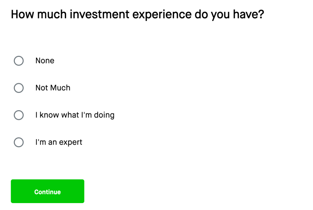 Robinhood - Investing Experience Form